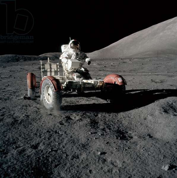 Apollo 17: E. Cernan on the Moon - Apollo 17: E. Cernan on the Moon - Eugene Cernan tests the lunar jeep during the first extravehicular exit. 11/12/1972 E. Cernan drives the LRV during first EVA. Dec 11 1972