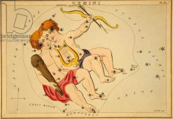 Gemels Constellation - Gemini constellation - Plate extracted from the Mirror of Urania by Jehoshaphat Aspin - 1825 Urania's Mirror, by Jehoshaphat Aspin, 1825