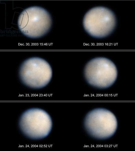 Asteroide Ceres seen by the space telescope Hubble - Asteroid Ceres - Photos obtained in visible and ultraviolet of the asteroid Ceres from December 2003 to January 2004. Since August 2006, Ceres is considered a dwarf planet. Hubble Space Telescope color image of Ceres, the largest object in the asteroid belt. The observations were made in visible and ultraviolet light between December 2003 and January 2004