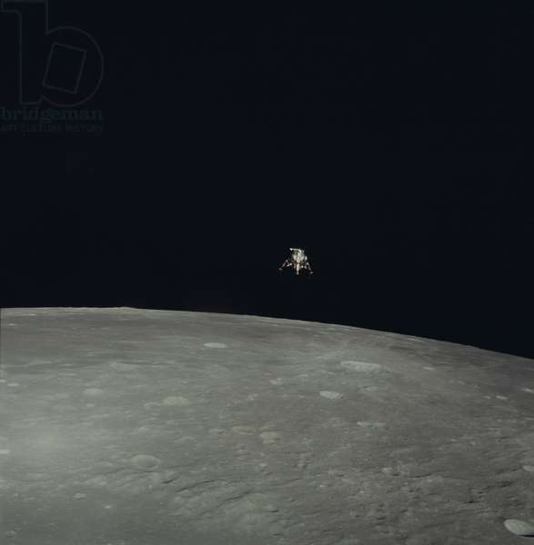 "Apollo 12: the LEM above the Moon 11/1969 - Apollo 12: LM above Moon - 11/1969 - View of the Lem ""Intrepid"" above the Moon before landing. View from Command Module of Lunar Module """" Intrepid"""" above the Moon before landing"
