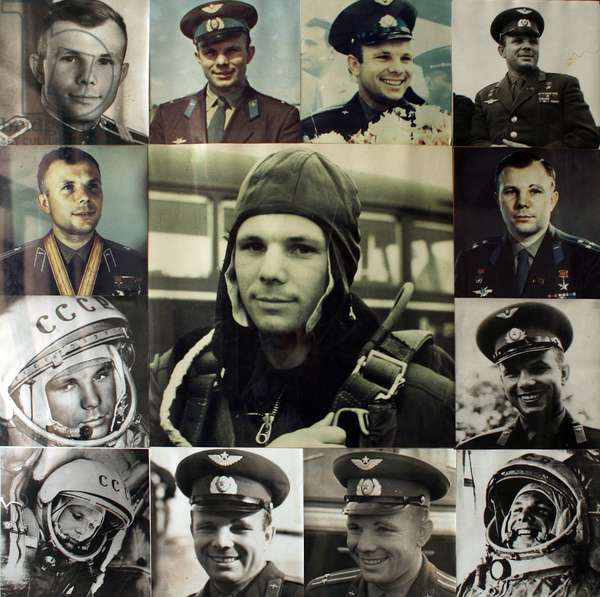 Yuri Gagarin - Yuri Gagarin - Yuri Gagarin (1934 - 1968), the first man to travel in space (April 12, 1961). Wall of images exposed at the Star City, near Moscow. 08/2008. Yuri Gagarin (1934 - 1968), the first man in space (on April 12, 1961). Wall poster in Star city near Moscow. 08/2008
