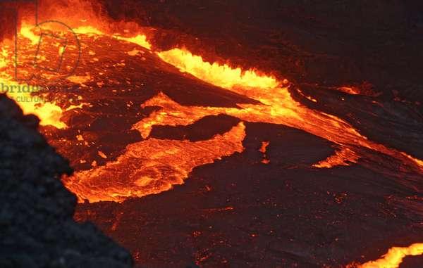 Lava lake of Puu Oo -Kilauea -Hawaii - Puu Oo lava lake -Kilauea -Hawaii - Lava lake in the crater of Puu Oo, an event of the volcano shield Kilauea -Hawaii. Lava lake in Puu Oo crater, an active cone on the shield volcano Kilauea, in Hawaii