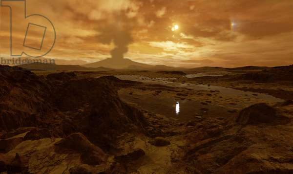 Ice volcano on Titan - Artist view - Titan Ice Volcano