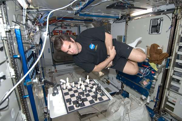 Astronaut Greg Chamitoff plays chess in weightlessness - Astronaut Greg Chamitoff playing a game of chess in space - Astronaut Greg Chamitoff plays chess in the Harmony module of the International Space Station. 19 July 2008. NASA astronaut Greg Chamitoff, Expedition 17 flight engineer, ponders his next move as he plays a game of chess in the Harmony node of the International Space Station