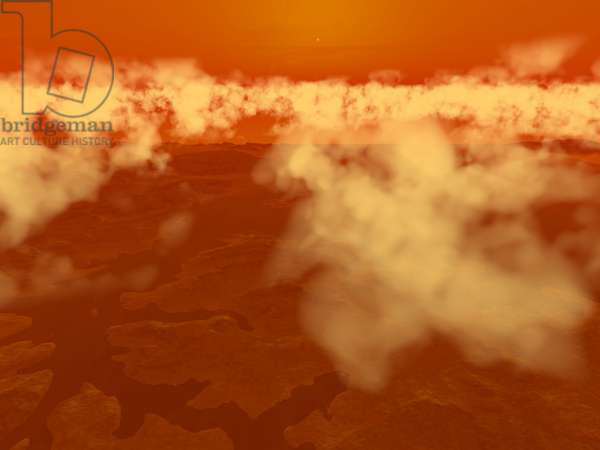 Clouds on the south pole of Titan - Illustration - Clouds over Titan's south pole - Artist's view of methane clouds observed over the south pole of Titan by the Cassini probe in October 2004. In October 2004 the Cassini orbiter revealed for the first time what may be highly reflective (in the infrared at least) methane clouds over Titan's south pole. This image suggests how those clouds may appear from within the cloud deck itself. The Sun is visible immediately above, though from this great distance the Sun appears to be only 1/10th its diameter from Earth