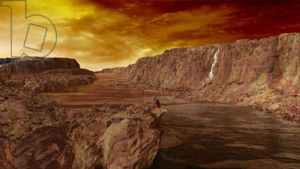 Methane Canyon and River on Titan - Artist View - Titan canyon and methane river: Artist view of the surface of the Titan satellite. The Cassini probe confirmed that lakes and rivers of methane or ethane exist on its surface
