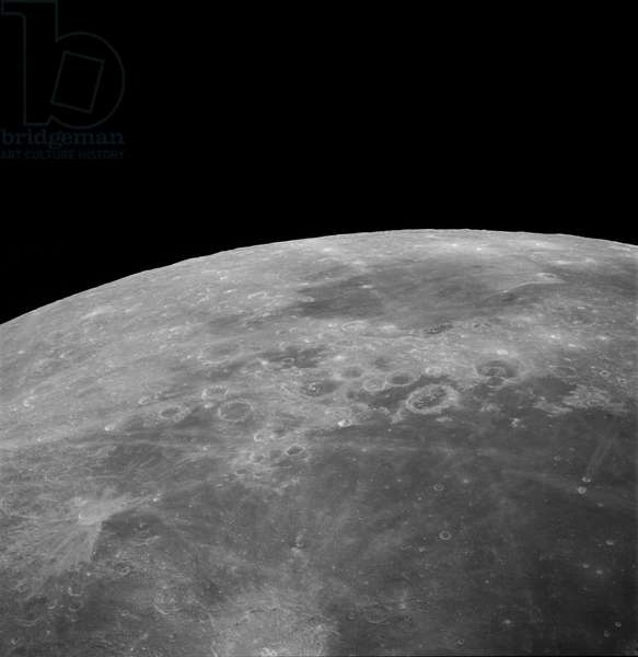 Moon: Sea of Fecondite and Sea of Nectar - Moon: Mare Fecunditatis and Mare Nectaris - The Sea of Fecondite is visible in the foreground with the Messier crateres in the bottom right. The Nectar Sea is visible near the horizon Image obtained in April 1972 from the control module of Apollo 16. This view of the moon, photographed during the Apollo 16 mission's trans - Earth coast, features Mare Fecunditatis in the foreground with the twin craters Messier at the lower right. Nearer the horizon is Mare Nectaris with craters Goclenius and Gutenberg in between