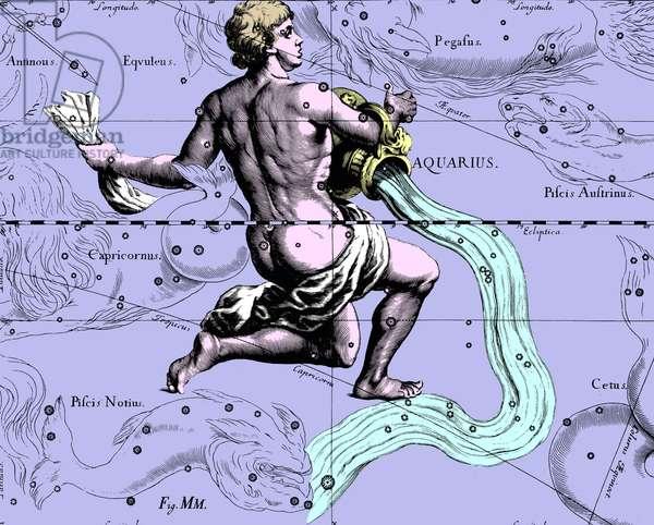 "Constellation Aquarius - Constellation of Aquarius - The constellation Aquarius extracted from the Uranographia of Hevelius. Recolorised image. Map showing the constellation of Aquarius with its mythological form from """" Uranographia"""" star atlas by Hevelius (1690). Recolored Image"
