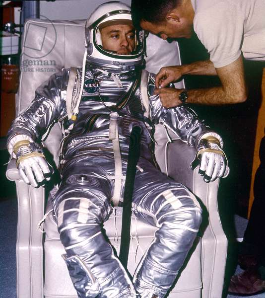 Mercury - Redstone - 3: A.Shepard before departure - Alan Shepard during Suiting for the first manned suborbital flight. May 05 1961
