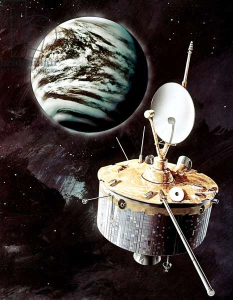 Pioneer Venus orbiter - Artist view - Pioneer Venus orbiter - Artist view - The Pioneer Venus Project was a NASA space exploration mission to Venus launched in 1978. It consisted of two separate probes, one to study Venus from its orbit (Pioneer Venus Orbiter) and the other to analyze the atmosphere of the planet through 4 atmospheric probes (Pioneer Venus Multiprobe). An artist concept of the orbiter approaching Venus is shown here
