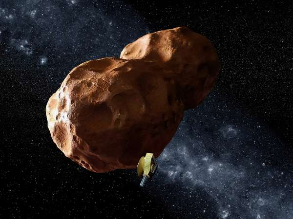 Artist's view of the New Horizons probe near the small object of Kuiper 2014 MU69.