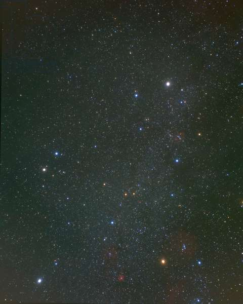 Constellations of Gemels and Coach - Constellations of Gemini and Auriga - At the bottom left, the Little Dog with Procyon. Lower right, Betelgeuse. Also visible, Canis Minor with bright star Procyon (bottom left), and Betelgeuse, in Orion (bottom right)
