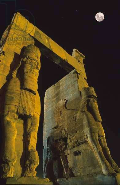 Full Moon on Persepolis - Full Moon above Persepolis, Iran - Full Moon on the Gate of Nations in Persepolis, Iran. Full moon over the Gate of all nations at Persepolis
