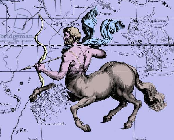 """Constellation of Sagittarius - Constellation of Sagittarius - The constellation of Sagittarius is extracted from the Uranographia of Hevelius. Recolorised image. Map showing the constellation of Sagittarius with its mythological form from """""""" Uranographia"""""""" star atlas by Hevelius (1690). Recolored Image"""