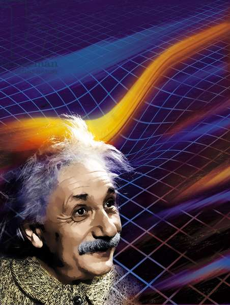 Einstein and space-time - Einstein and Spacetime - Albert Einstein and the curvature of space-time. Artist's view. Albert Einstein with spacetime curvature. Artwork