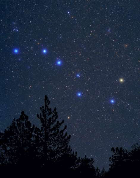 """Constellation of Ursa Major - Constellation of Ursa Major - Grand Chariot, asterism of the constellation Ursa Ursa. Composite of two images. The sky is enlarged in relation to reality. This photo of the constellation Ursa Major, better known as The Big Dipper clearly shows the main """""""" naked eye"""""""" stars that make up the shape of """""""" the dipper"""""""" enlarged in their true color. The Big Dipper is actually just the tail section of Usa Major, """""""" The Great Bear"""""""", which is a very large constellation in the Northern sky"""