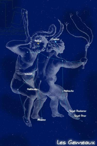 """Constellation of Gemels - Constellation of Gemini - The constellation of Gemels with its mythological form, extracted from the Uranographia of Hevelius. Map showing the constellation of Gemini with its mythological form from """""""" Uranographia"""""""" star atlas by Hevelius (1690) added"""