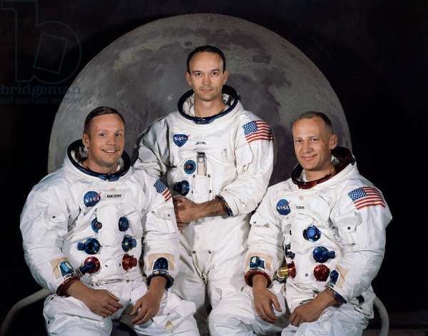 Crew Apollo 11 - Apollo 11 crew portrait - From left to right astronauts Neil Armstrong, Michael Collins, Edwin Aldrin. 1969. From left to right: Neil Armstrong, Michael Collins, Edwin Aldrin. 1969