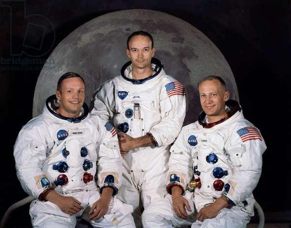 Crew Apollo 11 - Apollo 11 crew portrait - From left to right astronauts Neil Armstrong, Michael Collins, Edwin Aldrin. 1969. From left to right: Neil Armstrong, Michael Collins, Edwin Aldrin. 1969