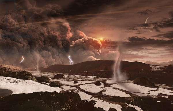 Dust storm on Titan, Artist view (photo)