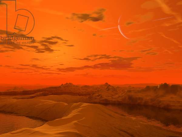 Surface de Titan - Illustration - Titan surface - Artist's view of the surface of Titan. In the sky, the planet Saturn. It is not known what lies beneath Titan's obscuring haze.* What is known is that Titan's atmosphere is one - and - a - half times as dense as the Earth's at sea level, and its composition is roughly 90% nitrogen and 10% other complex molecules such as methane (compare this to the Earth's atmosphere which is 78% nitrogen and 20% oxygen). Sadly, Titan's thick haze would make it unlikely that a visitor to Titan's surface could look up into the sky and see Saturn itself, but what the heck.