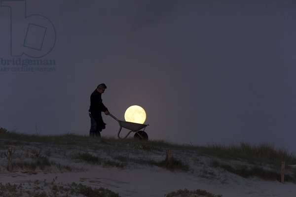 Gardening by the Moon - Michel carries the Full Moon in a barrow