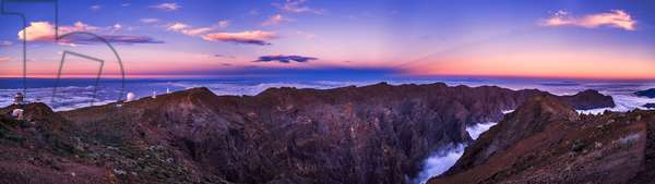 La Palma Observatory - La Palma observatory - The Roque de Los Muchachos Observatory is located at the top of the island of La Palma, in the Spanish Canary Islands. At 2400 m above sea level, this European Boreal Observatory is one of the largest astronomical centres in the world with a dozen large telescopes. From left to right: 2.5m NOT (Nordic Optical Telescope), 4.2m William Herschel telescope, the two solar towers (Dutch Open Telescope and Swedish Solar Telescope), the 2.5m Isaac Newton Telescope (INT) and finally the 1m Jacobus Kapteyn Telescope. Moments after the sunset, the Earth shadow and anticrepuscular rays form over La Palma, Canary Islands. On the top of La Palma large telescopes of Roque de los Muchachos Observatory at 2400 meters above see level are preparing for another night of exploration. There are about a dozen major telescopes on this excellent observing site. From this vantage point at the top of island (a 2400m peak) the edge of Caldera de la Taburiente covers the foreground. The 10 - km wide volcanic crater (with walls tower 2000m over the caldera floor) dominates the northern part of the island. The caldera originated some 2 million years ago with a massive shield volcano. At the horizon the neighboring Tenerife island is visible on the left, marked by spectacular Teide volcano which reaches over 3700m above the ocean. Another Canary Island is visible on the right: La Gomera