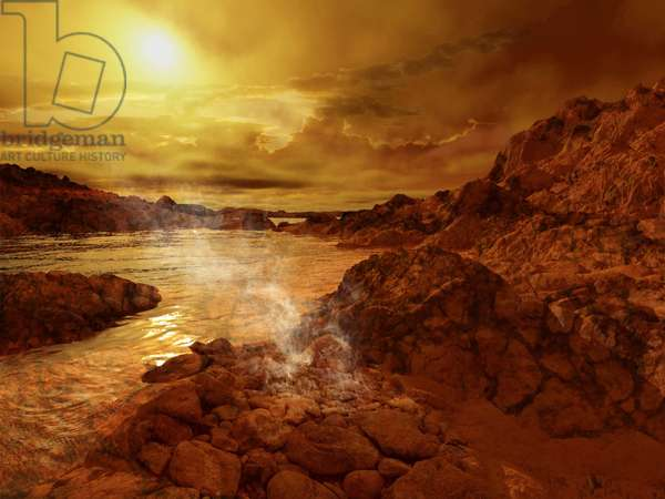 Methane lake on Titan - Artist view - Titan lake - Artist view: Artist view from the surface of the Titan satellite. The Cassini probe confirmed that methane or ethane lakes exist on its surface. Lakes of liquid methane or exotic hydrocarbons cover the surface of Titan