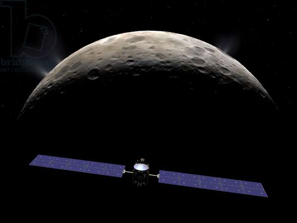 The Dawn probe orbiting around Ceres - Artist's view - Dawn in orbit around Ceres - Artist's view of the Dawn probe orbiting around the dwarf planet Ceres. In march 2015 the unmanned Dawn spacecraft is scheduled to arrive at the dwarf planet Ceres. The 65 foot long, 2.5 ton probe was launched from the Earth in 2007, passed March in 2009, and went into orbit around the protoplanet Vesta in July 2011 where it stayed until September 2012. Once in orbit around Ceres, Dawn is expected to operate for about a year making observations of this largest object in the asteroid belt. In this image Dawn is entering orbit around Ceres. In late November 2015 Dawn will descend to its closest orbit around Ceres at a distance of about 230 miles. While no close - up observations of yet been made of Ceres itself, here it is rendered as appearing similar to a much smaller version of the Earth's Moon, heavily cratered with the addition of surface water ice and hypothesized plumes of ice crystals from water geysers on its surface
