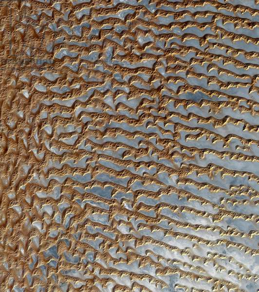 Satellite photo of the Rub al Khali desert - Rub 'al Khali desert seen from space - Rub al-Khali (the Empty Quarter), is one of the largest deserts and the largest uninterrupted expanse of sand in the world. It covers nearly 600,000 square kilometres in the Arabian Peninsula, located mostly in Saudi Arabia and in the territories of Yemen, Oman and the United Arab Emirates. The image obtained by the Terra satellite on 2 December 2005 covers an area of 54.8 km by 61.9 km and shows the fields of sand dunes separated by flat and saline stretches, sebkha (or sabkha). The Arabian Peninsula's Empty Quarter, known as Rub 'al Khali, is the world's largest sand sea, holding about half as much sand as the Sahara Desert. The Empty Quarter covers 583,000 square kilometers (225,000 square miles), and stretches over parts of Saudi Arabia, Yemen, Oman, and the United Arab Emirates. The ASTER instrument on Nasa's Terra satellite captured this image of the Empty Quarter on December 2, 2005, covering an area of 54.8 x 61.9 km, located near 20.7 degrees north latitude, 53.6 degrees east. Grey White salt flats, known as sebkhas or sabkhas, separate the dunes