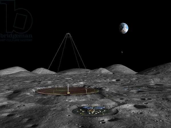Liquid mirror telescope on the Moon - Lunar liquid mirror telescope - Illustration of an astronomical observatory on the Moon. Installs near the southern pole of the Moon, a giant telescope with liquid mirror, one kilometre in diameter. A giant liquid mirror telescope 1 kilometer wide (6 tenths of a mile) and 1 kilometer tall lies nestled in an approximately 1 kilometer wide crater near the Moon's south pole. In the foreground is a kind of lunar city for human habitation composed of pressurized and radiation-hardened living units. On the upper right are landing pads for transports arriving to and departing from the lunar surface. A liquid mirror telescope is a Newtonian reflecting type telescope that employs a reflecting liquid as the primary mirror. A concept first identified 300 years ago by Isaac Newton himself, the reflecting liquid assumes the proper paraboloidal shape by rotating the container the liquid is in. On Earth working liquid mirror telescopes have been created with diameters up to 20 feet using mercury metal as the reflecting liquid. One limitation is that liquid metal mirror can only be used in zenith telescopes that look straight up at the sky, so it is not suitable for investigations where the telescope must remain pointing at the same location of space. Given its low surface gravity and lack of distorting atmosphere, the Moon would be an ideal location for an extremely large liquid mirror telescope, however instead of mercury other liquids have been proposed, including low temperature ionic liquids that would be especially suitable for infrared observations. Given the Moons' lack of atmospheric pressure, any such liquid would need to have a zero vapor pressure to keep it from boiling away