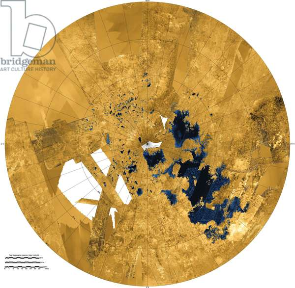 Titan Radar Map - Titan Surface: The surface of Titan seen on the radar of the Cassini probe. Image centred on the north pole. In blue the lakes and seas of methane and ethane - Radar image of Titan's north polar regions. The regions marked as blue indicate seas (largest areas) and lakes (smaller features). All lakes observed to date lie above 70o latitude