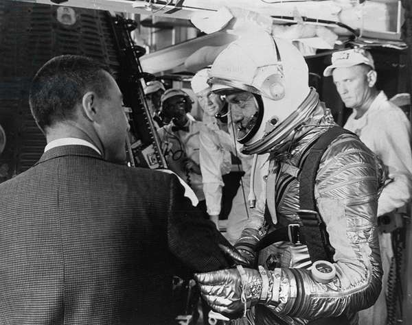 Mercury - Redstone - 3: A.Shepard before departure - Virgil Grissom and Alan B. Shepard before Freedom 7 launch. May 05 1961