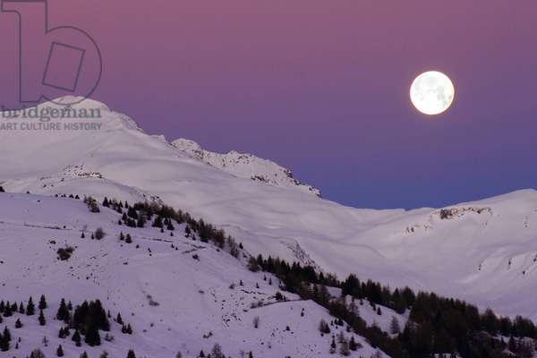 Full Moon on the Alps - Full Moon above Alps: Full Moon on the French Alps - Full moonrise above english Alps