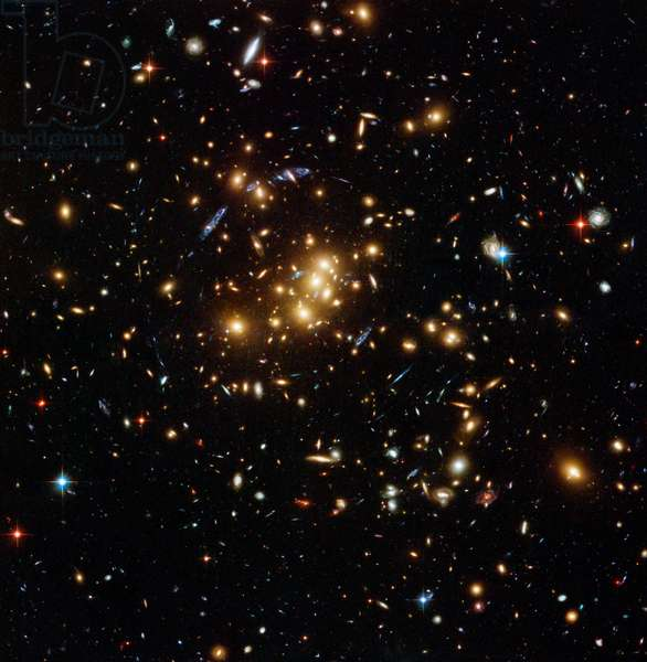 Cl0024+17 galaxy cluster Cl0024+17 - Galaxy cluster Cl0024+17 - Cl0024+17 galaxy cluster located about 5 billion years ago - light in the constellation Pisces. This image reveals to us, by a gravitational mirage effect, the deformed image of a galaxy, located behind the cluster at a distance of about 10 billion years - light from the Earth. By studying this gravitational mirage, astronomers discovered the presence of black matter around this cluster. Image obtained by the Hubble space telescope in November 2004 with the ACS camera. An international team of astronomers using the NASA/ESA Hubble Space Telescope has discovered a ghostly ring of dark matter that was formed long ago during a titanic collision between two massive galaxy clusters. It is the first time that a dark matter distribution has been found that differs substantially from the distribution of ordinary matter. This image shows the galaxy cluster Cl 0024+17 (ZWCl 0024+1652) located at about 5 billion light - years as seen by Hubble's Advanced Camera for Surveys. The image displays faint faraway background galaxies that had their light bent by the cluster's strong gravitational field. By mapping the distorted light and using it to deduce how dark matter is distributed in the cluster, astronomers spotted the ring of dark matter. One of the background galaxies is located about two times further away than the yellow cluster galaxies in the foreground, and has been multiple - imaged into five separate arc - shaped components, seen in blue