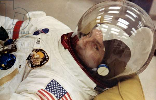 Apollo 13: James Lovell - Jim Lovell, commander of Apollo 13, during the dressing session on launch day. 11/04/1970. Apollo 13 Commander Jim Lovell during suitup on launch day. April 11 1970
