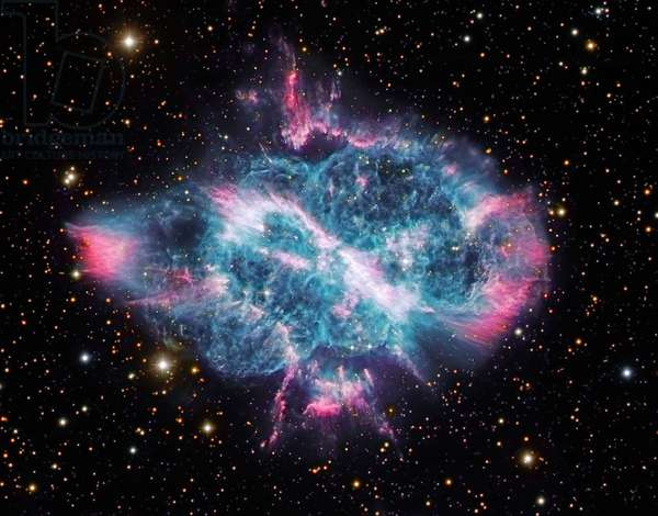 """Planetary nebula NGC 5189 in the fly - This nebula is located about 3000 light years from Earth in the southern constellation of the fly. Image obtained by the Gemini and Hubble telescopes (HST). NGC 5189 is a planetary nebula. At the end of its life, a star with a mass less than eight times that of the Sun will blow its outer layers away, giving rise to a planetary nebula. Some of these stellar puffballs are almost round, resembling huge soap bubbles or giant planets (hence the name), but others, such as NGC 5189 are more intricate. In particular, this planetary nebula exhibits a curious S"""" - shaped profile, with a central bar that is most likely the projection of an inner ring of gas discharged by the star, seen edge on. The details of the physical processes producing such a complex symmetry from a simple, spherical star are still the object of astronomical controversy. One possibility is that the star has a very close (but unseen) companion. Over time the orbits drift due to precession and this could result in the complex curves on the opposite sides of the star visible in this image. This image has been taken with the Gemini and Hubble space Telescope."""