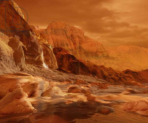 Mountain on Titan - Artist View - In the foothills of Titan's mountains