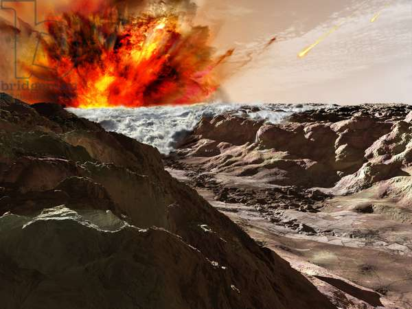Tsunami on Mars - Artist's view - Mars tsunami: More than three billion years ago, oceans existed on Mars. It is likely that the planet has experienced gigantic tsunamis caused by meteorite impacts on the planet - 3.5 billion years ago Mars had oceans. Huge Tsunamis probably occured most likely caused by meteors colliding with the planet