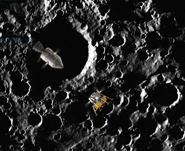 Apollo Missions - Artist View - Apollo program - Artist view - LEM separates from the control module to land on the Moon. The Lunar Excursion Module separates from the Command and Service Module in preparation for landing on the Moon