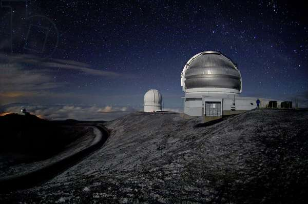 North Gemini domes and CFHT at the Mauna Kea Observatory - Gemini North and CFHT domes at Mauna Kea observatory