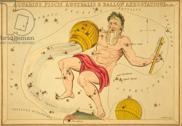 Aquarius Constellation - Constellation of Aquarius - Plate extracted from the Mirror of Urania by Jehoshaphat Aspin - 1825 Urania's Mirror, by Jehoshaphat Aspin, 1825