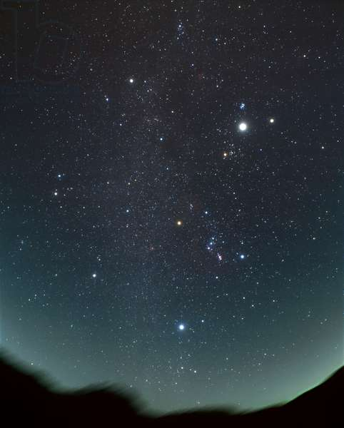 noJupiter and Saturn between the Hyades and Pleiades, with Orion