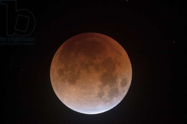 Eclipse de Lune - 31/01/2018 - Lunar eclipse January 31 2018: Beginning of the total eclipse of Moon on 31 January 2018. This moon eclipse was nicknamed the super blue moon of blood. Begining of Total Lunar Eclipse. It was nicknamed super blue blood moon