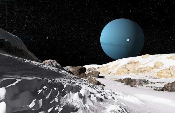 Uranus from Umbriel - Illustration - Uranus as seen from Umbriel - Illustration: Illustration of the planet Uranus from its satellite Umbriel