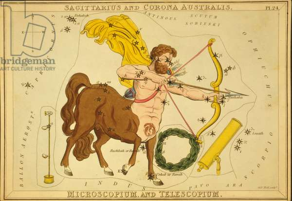 Constellations of Sagittarius, Southern Crown, Microscope and Telescope - Constellation of Sagittarius - Plate extracted from the Mirror of Urania by Jehoshaphat Aspin - 1825 Represented with constellations of Corona Australis, Telescopium and Microscopium. Urania's Mirror, by Jehoshaphat Aspin, 1825