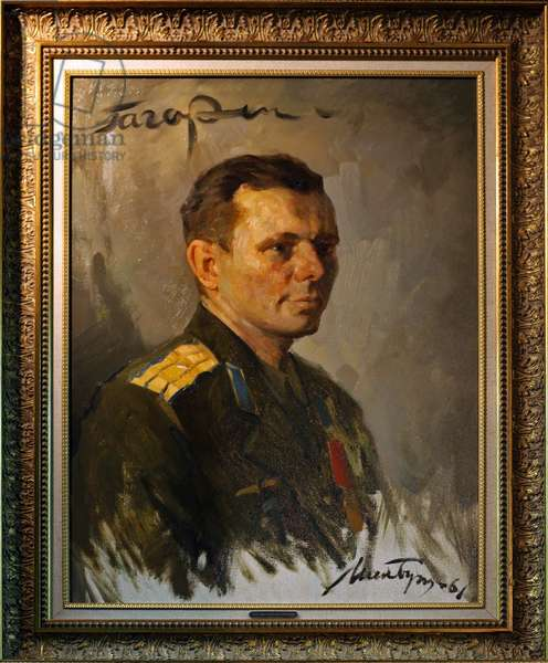 Portrait of Yuri Gagarin - Portrait of Yuri Gagarin - Painting depicting Yuri Gagarin (1934 - 1968), the first man to travel in space (April 12, 1961). This painting, made after its historic flight, was donated to the Star City Museum by President Putin during the celebrations of the 40th anniversary of the first man in space. Top left, Gagarin's signature. Painting of Yuri Gagarin (1934 - 1968), the first man in space (on April 12, 1961). It is a gift from president Vladimir Putin to the star city museum made during the 40th anniversary of the first manned spaceflight. This rare painting made after this historical flight is also signed by Gagarin himself