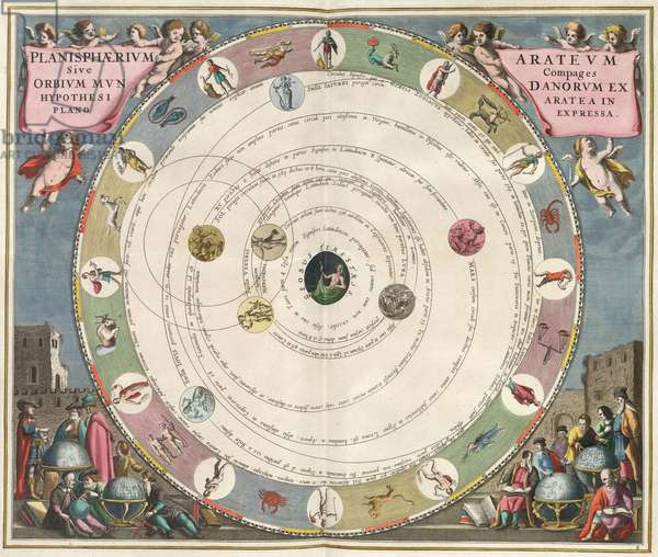 "Geocentric System according to Aratus - Geocentric System - Representation of the geocentric system according to Aratus (Aratos de Soles). Engraving from ""Harmonia Macrocosmica"" by Andreas Cellarius, 1660-1661. The planisphere of Aratus, or the mechanism of the heavenly orbits following the hypothesis of Aratus laid out in a planar view. Plate of the Harmonia Macrocosmica of Andreas Cellarius, 1660-1661"