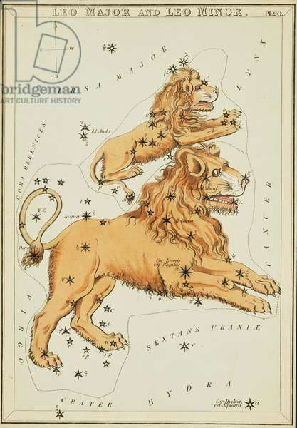 Constellation of the Lion - Constellation of Leo - Plate extracted from the Mirror of Urania by Jehoshaphat Aspin - 1825 Urania's Mirror, by Jehoshaphat Aspin, 1825