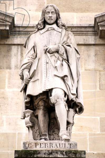 Statue of Claude Perrault in Paris: View of the statue of Claude Perrault (1613-1688), in the courtyard Napoleon du Louvre.. A doctor and architect, his statue represents him a comppas in one hand, and a drawing board in the other. Recommends to Colbert by his brother Charles Perrault, he participated in the elaboration of the Louvre colonnade with a view to restoring the eastern facade of the museum. Soon after, Colbert asked him to draw the plans for the Paris Observatory